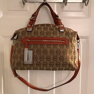 Michael Kors Brown Tan Orange Logo Satchel Bag